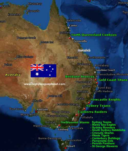 Australia Rugby League map