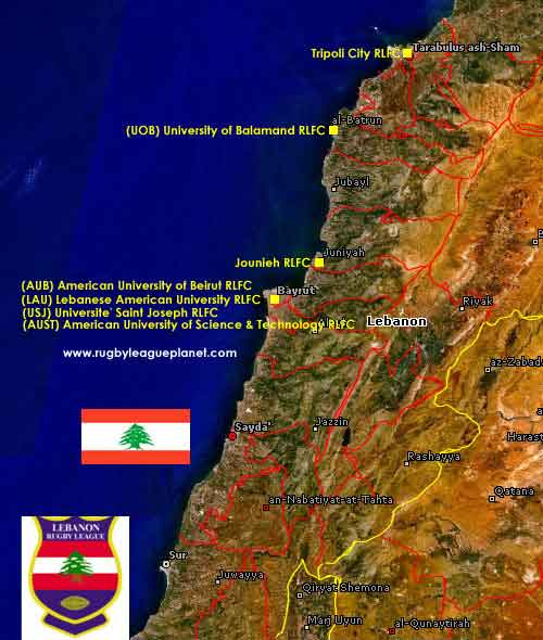 Lebanon Rugby League map