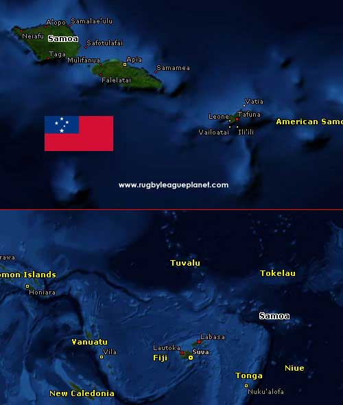 Samoa Rugby League map