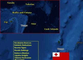 Tonga Rugby League map