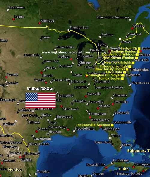 United States Rugby League map