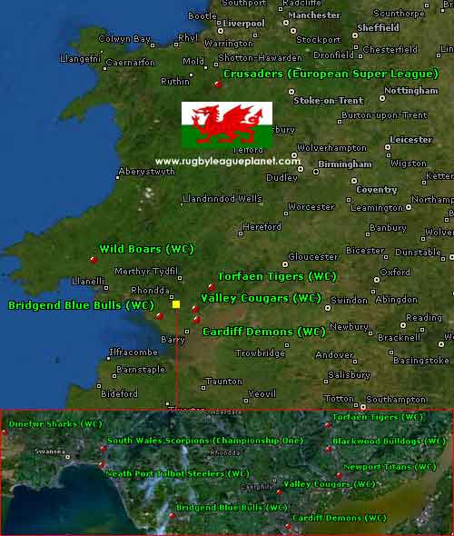 Wales Rugby League map