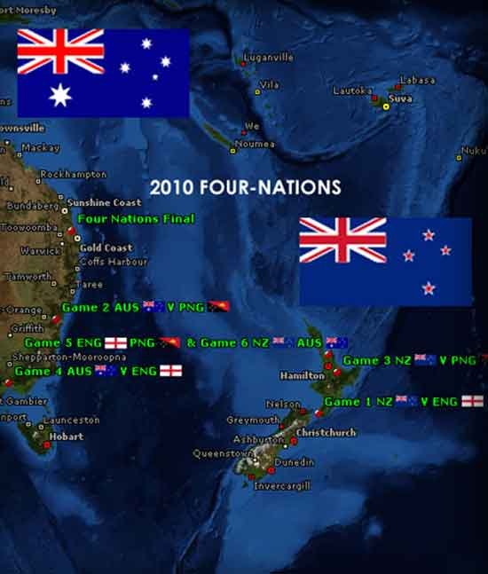 2010 Rugby League Four Nations map