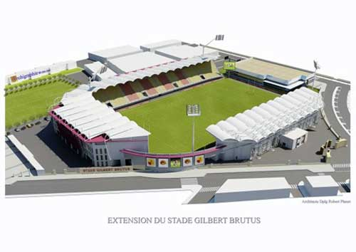 Indicative sketch of a completed Stade Gilbert Brutus – aerial view