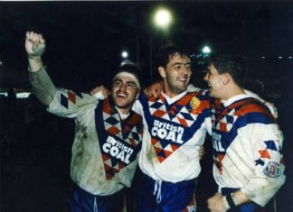 Daryl Powell celebrating the 1992 second Test victory in Melbourne with Martin Dermott and Joe Lydon