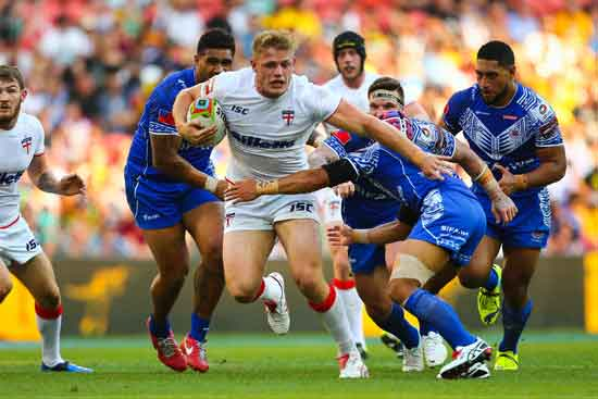 Tom Burgess in action against Samoa