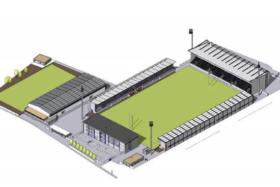 Aerial view of proposed redevelopment of Stade Arnauné