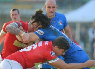 Italy in action against Wales