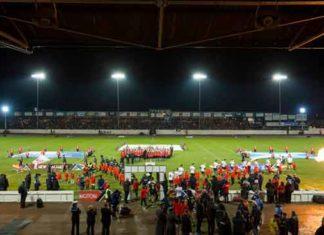 4 Nations Scotland and New Zealand walk onto field in Workington