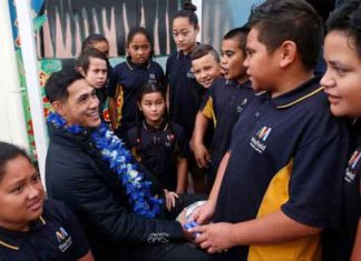 Roger Tuivasa-Sheck at his old school in Mayfield