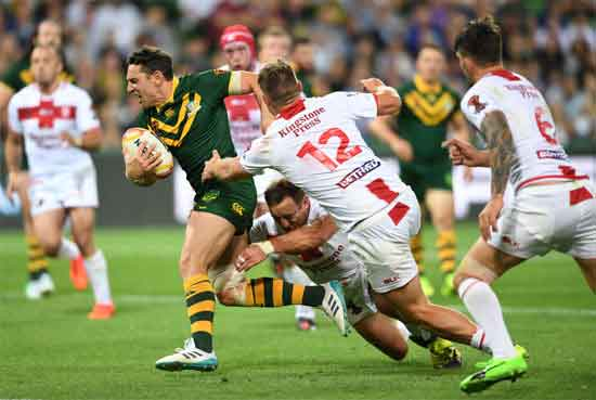 Man of the match Billy Slater in action against England RLWC2017