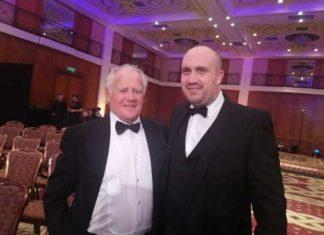 David Watkins alongside Torfaen Tigers chairman Rob Davies